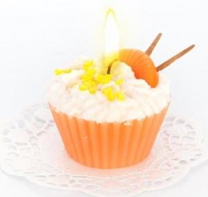 """Свеча """"пирожное"""" ручной работы ORANGE, d8 h6 см"""