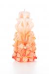 Свеча-резная ручной работы LACE CORAL-L (кружева коралл), h 16 см