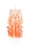 Свеча-резная ручной работы LACE CORAL-M (кружева коралл), h 11 см