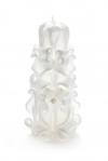 Свеча-резная ручной работы LACE WHITE-L (кружева белоснежные), h 16 см