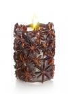 Свеча Эко ручной работы SPICY NIGHT dark со звездочками аниса, d 8 h 10 см/ круглая