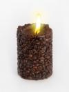 Свеча Эко ручной работы COFFEE с зернами и ароматом кофе, d8 h10 см круглая