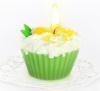 """Свеча """"пирожное"""" ручной работы GREEN TEA, d8 h6 см"""