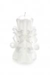 Свеча-резная ручной работы LACE WHITE-M (кружева белоснежные), h 11 см