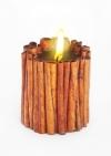 Свеча Эко ручной работы MAGIC LOVE с палочками корицы и эфирными маслами корицы и базилика d8 h10 см круглая